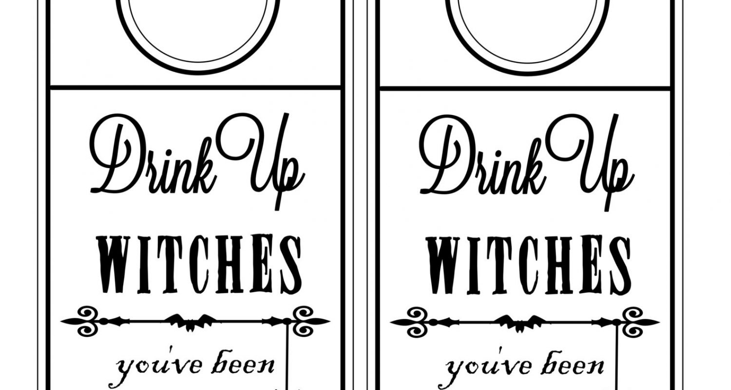 graphic regarding You've Been Boozed Printable called Consume up witches youve been boozed bottle cling tag black