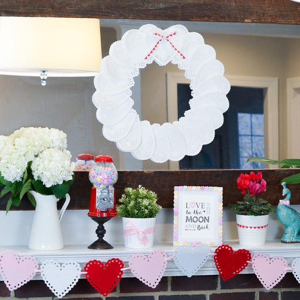 Valentine's Heart Doilies Wreath