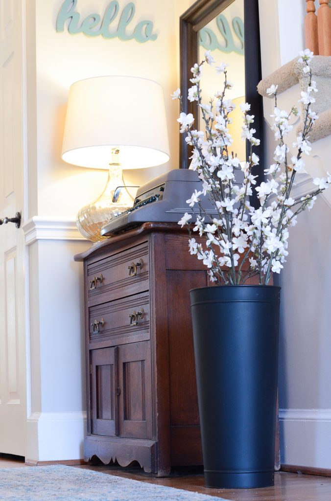 entryway, spring, artificial flowers, decorating, farmhouse decor, michaels