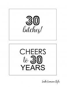 thumbnail of South Lumina Style DIY Printable 30th Birthday Signs cheers to 30 years