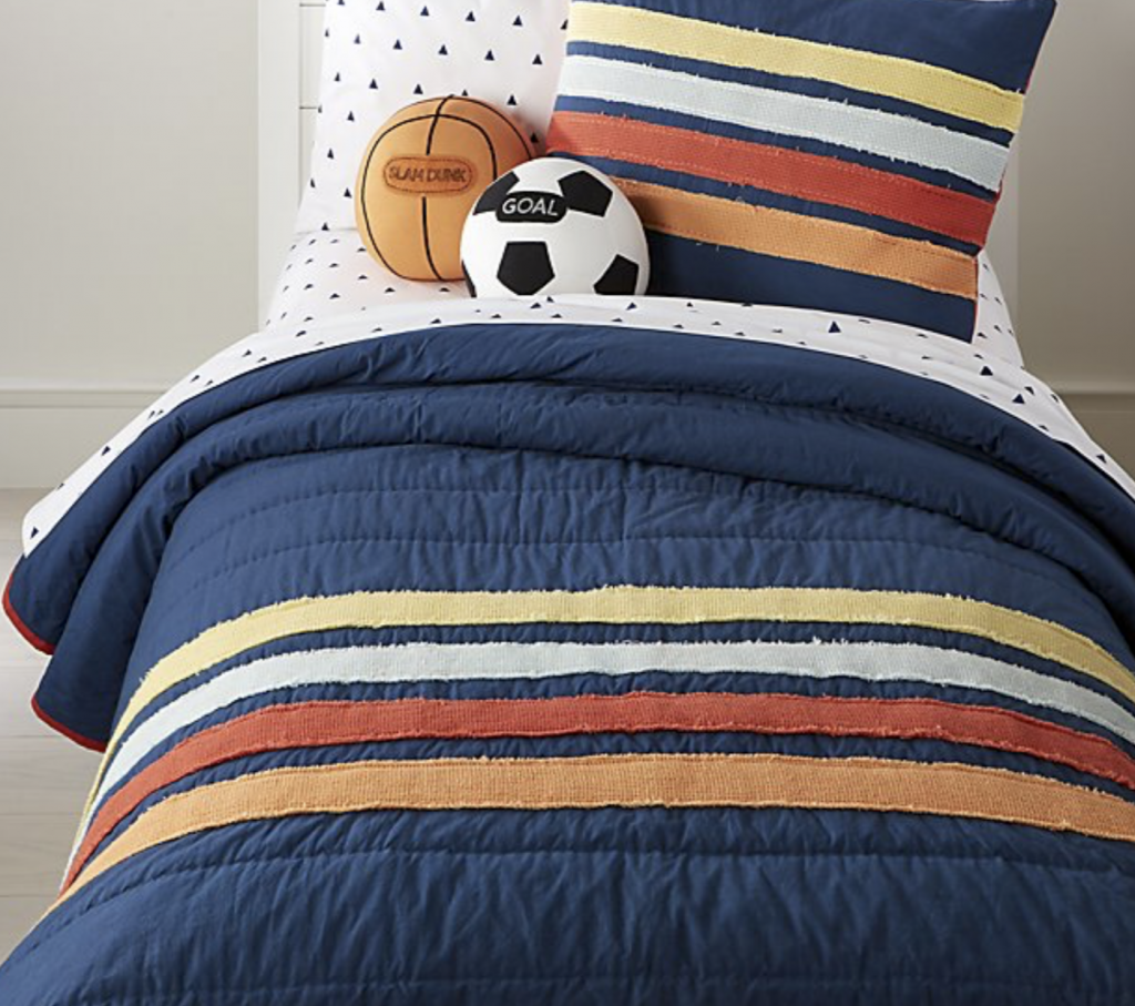 Our Favorite Bedding for Boys - Crate & Barrel Kids Striped Waffle Bedding