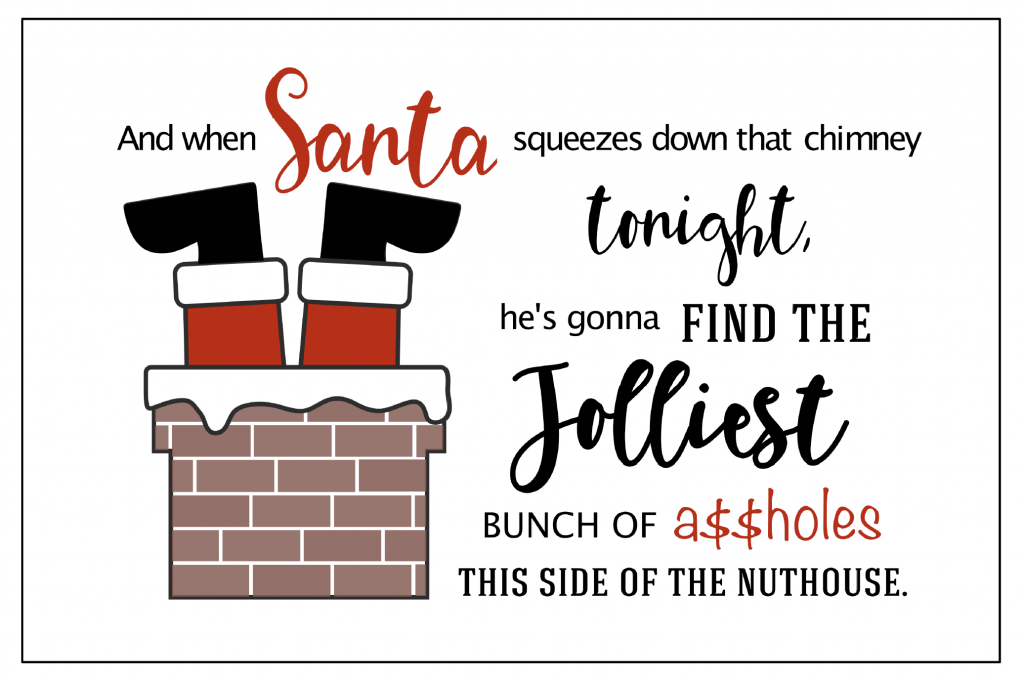 Christmas Vacation Printable Party Signs - Santa Down the Chimney