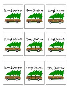 thumbnail of Gift Tag Printables Christmas Station Wagon With Christmas Tree
